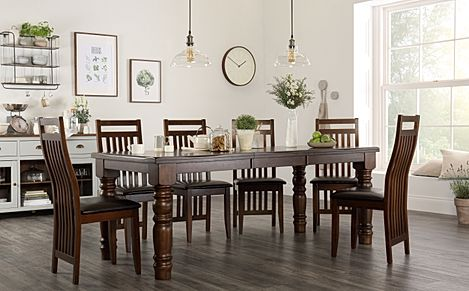 Hampshire Dark Wood Extending Dining Table with 8 Java Chairs (Brown Leather Seat Pads)