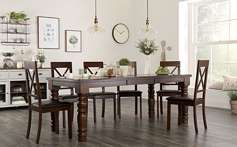 Hampshire Dark Wood Extending Dining Table with 8 Kendal Chairs (Brown Leather Seat Pads)