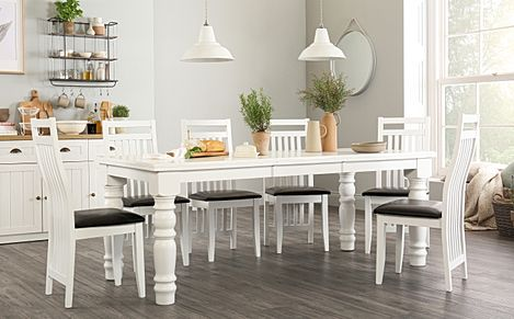 Hampshire White Extending Dining Table - with 4 Java Chairs