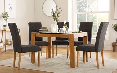 Tate 120cm Oak and Glass Dining Table with 6 Regent Slate Fabric Chairs