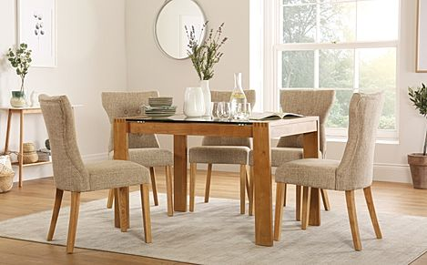 Tate 120cm Oak and Glass Dining Table with 4 Bewley Oatmeal Fabric Chairs
