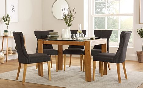 Tate Oak and Glass 120cm Dining Table with 4 Bewley Slate Fabric Chairs
