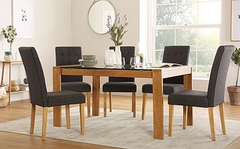 Tate Oak and Glass 150cm Dining Table with 4 Regent Slate Fabric Chairs