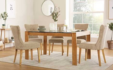 Tate 150cm Oak and Glass Dining Table with 6 Bewley Oatmeal Fabric Chairs