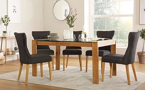 Tate 150cm Oak and Glass Dining Table with 6 Bewley Slate Fabric Chairs