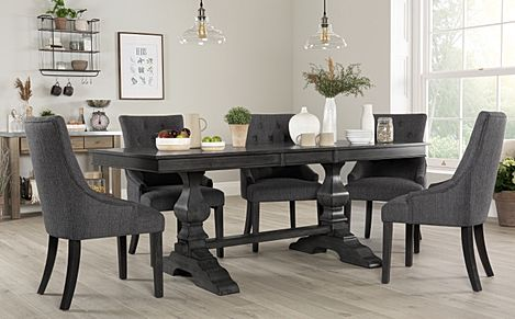 Cavendish Grey Wood Extending Dining Table with 8 Duke Slate Fabric Chairs