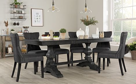 Cavendish Grey Wood Extending Dining Table with 6 Bewley Slate Fabric Chairs