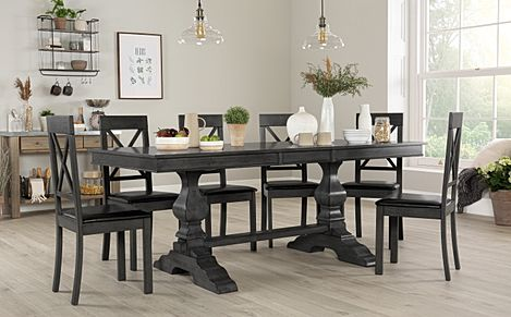 Cavendish Grey Wood Extending Dining Table with 6 Kendal Chairs (Black Seat Pad)