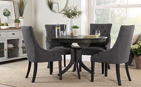 Hudson Round Grey Wood Extending Dining Table with 4 Duke Slate Fabric Chairs