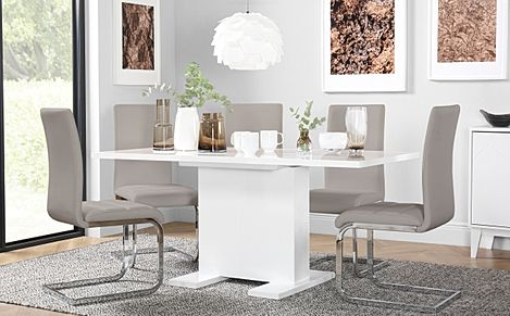 Osaka White High Gloss Extending Dining Table with 4 Perth Taupe Leather Chairs
