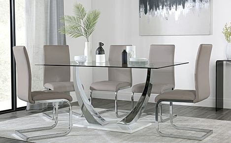 Peake Glass and Chrome Dining Table (White Gloss Base) with 6 Perth Taupe Leather Chairs