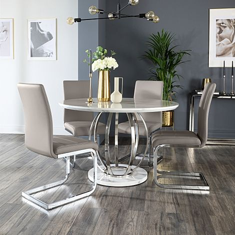 Savoy Round White Marble and Chrome Dining Table with 4 Perth Taupe Leather Chairs