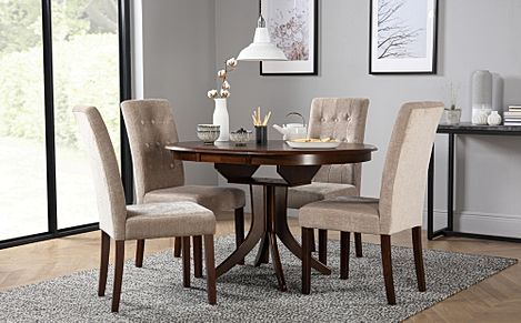 Hudson Round Dark Wood Extending Dining Table with 6 Regent Oatmeal Fabric Chairs
