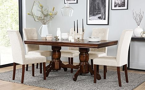 Chatsworth Dark Wood Extending Dining Table with 6 Regent Oatmeal Fabric Chairs