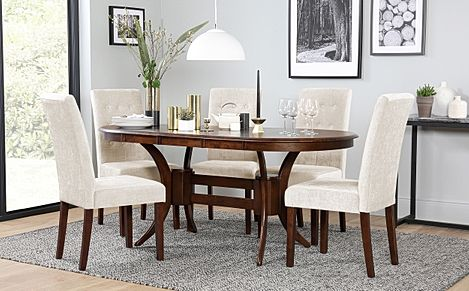 Townhouse Oval Dark Wood Extending Dining Table with 4 Regent Oatmeal Fabric Chairs