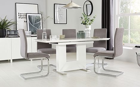 Florence White High Gloss Extending Dining Table with 4 Perth Grey Velvet Chairs