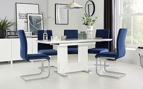 Florence White High Gloss Extending Dining Table with 6 Perth Blue Velvet Chairs