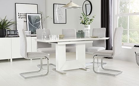Florence White High Gloss Extending Dining Table with 4 Perth Dove Grey Fabric Chairs