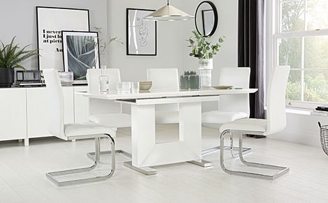 Florence White High Gloss Extending Dining Table with 6 Perth White Leather Chairs