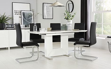 Florence White High Gloss Extending Dining Table with 6 Perth Black Chairs