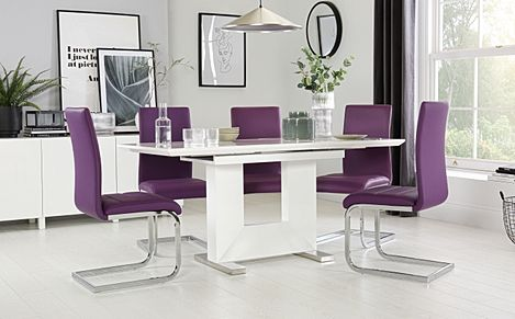 Florence White High Gloss Extending Dining Table with 6 Perth Purple Leather Chairs