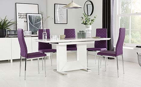 Florence White High Gloss Extending Dining Table with 6 Renzo Purple Chairs