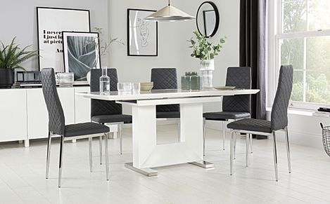 Florence White High Gloss Extending Dining Table with 6 Renzo Grey Leather Chairs