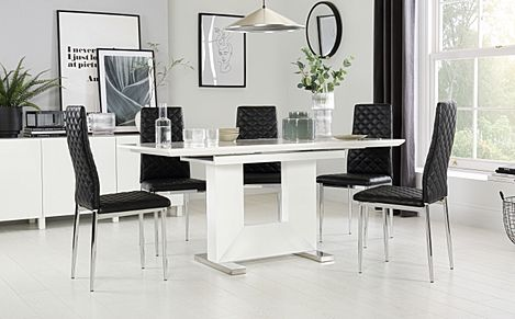 Florence White High Gloss Extending Dining Table with 6 Renzo Black Leather Chairs