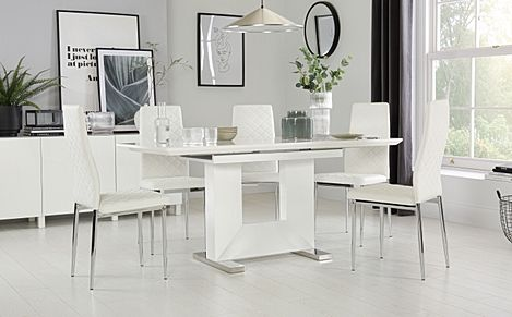 Florence White High Gloss Extending Dining Table with 6 Renzo White Leather Chairs