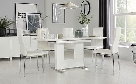 Florence White High Gloss Extending Dining Table with 4 Leon White Leather Chairs