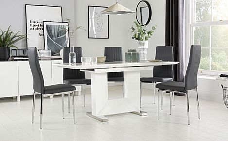 Florence White High Gloss Extending Dining Table with 4 Leon Grey Leather Chairs