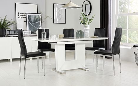 Florence White High Gloss Extending Dining Table with 6 Leon Black Leather Chairs