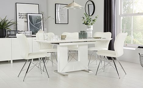 Florence White High Gloss Extending Dining Table with 6 Lucca White Chairs