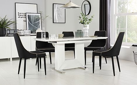 Florence White High Gloss Extending Dining Table with 4 Modena Black Fabric Chairs