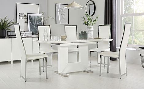 Florence White High Gloss Extending Dining Table with 6 Celeste White Leather Chairs