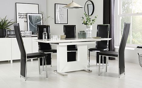 Florence White High Gloss Extending Dining Table with 4 Celeste Black Chairs