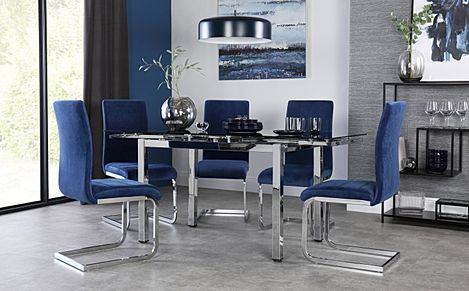 Space Chrome and Black Glass Extending Dining Table with 6 Perth Blue Velvet Chairs
