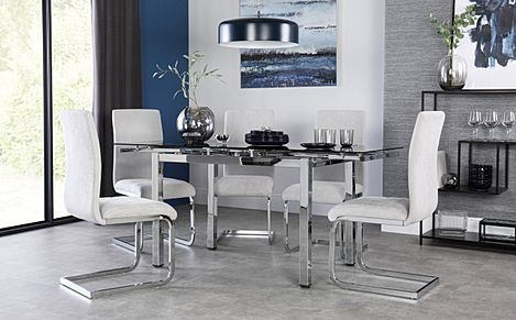 Space Chrome & Black Glass Extending Dining Table with 4 Perth Dove Grey Fabric Chairs