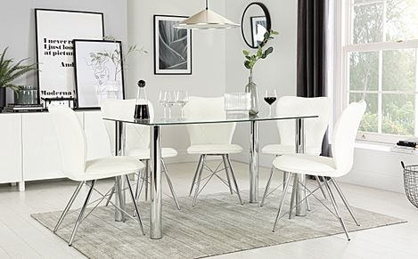 Lunar Chrome and Glass Dining Table with 6 Lucca White Chairs