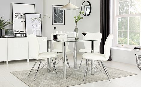 Nova Square Chrome and Glass Dining Table with 4 Lucca White Chairs