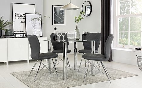 Nova Square Chrome & Glass Dining Table with 4 Lucca Grey Chairs