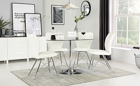 Orbit Round Glass and Chrome Dining Table with 4 Lucca White Chairs