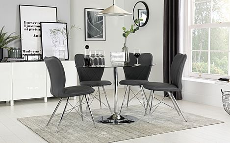 Orbit Round Chrome and Glass Dining Table with 4 Lucca Grey Leather Chairs