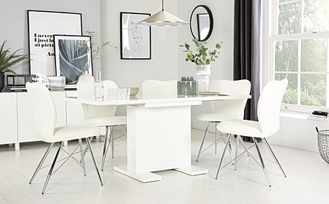 Osaka White High Gloss Extending Dining Table with 4 Lucca White Chairs