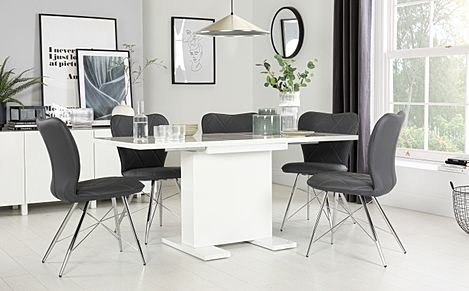 Osaka White High Gloss Extending Dining Table with 6 Lucca Grey Leather Chairs