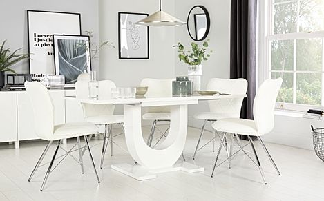 Oslo White High Gloss Extending Dining Table with 4 Lucca White Chairs