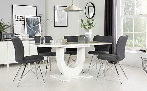 Oslo White High Gloss Extending Dining Table with 4 Lucca Grey Chairs