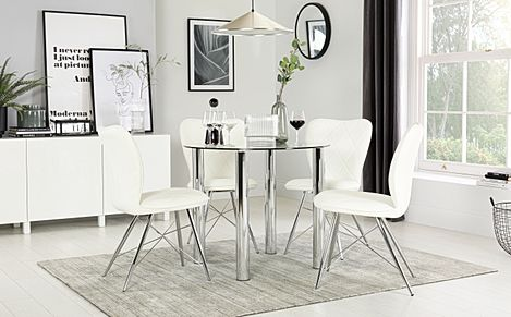 Solar Round Chrome and Glass Dining Table with 4 Lucca White Chairs