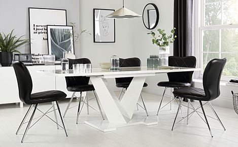 Turin White High Gloss Extending Dining Table with 6 Lucca Black Chairs