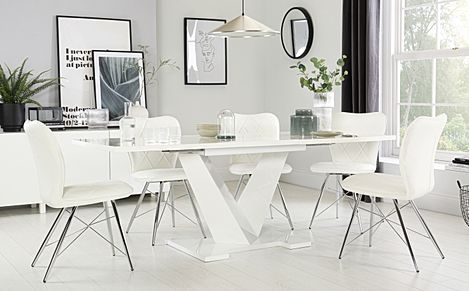 Turin White High Gloss Extending Dining Table with 6 Lucca White Chairs